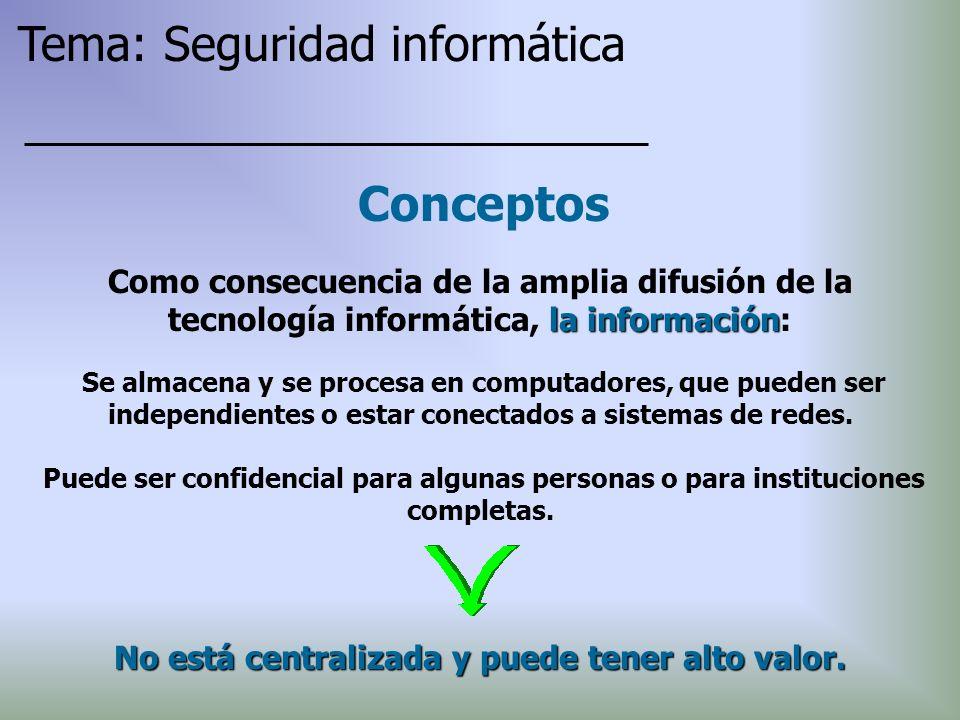 Conceptos Se almacena y se procesa en computadores, que pueden ser independientes o estar conectados a sistemas de redes. Puede ser confidencial para