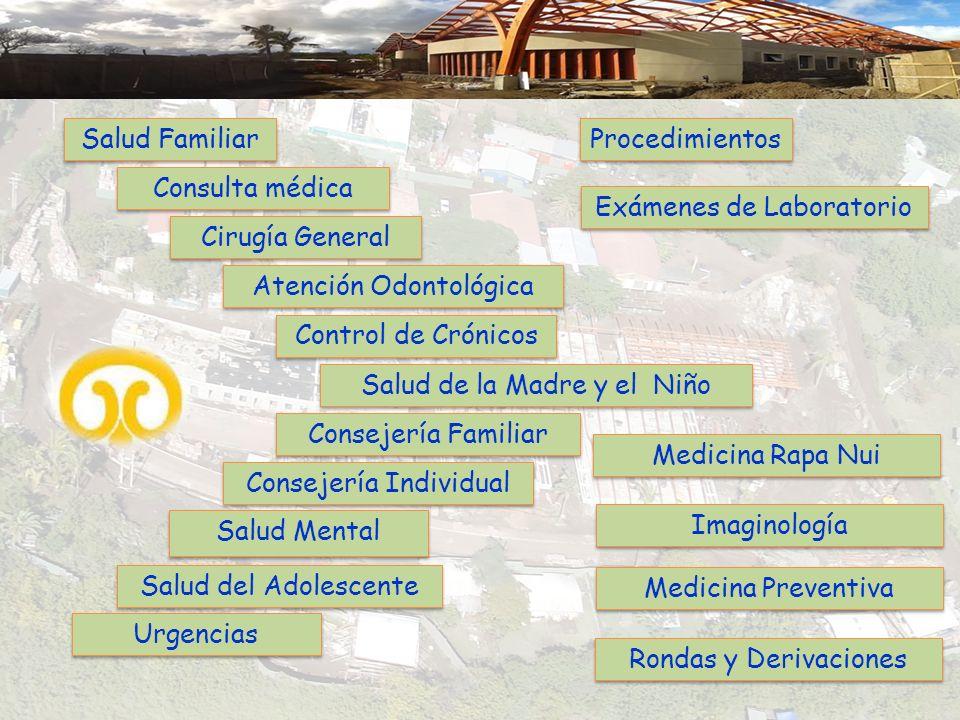 Salud Familiar Consulta médica Cirugía General Atención Odontológica Control de Crónicos Salud Mental Consejería Familiar Consejería Individual Proced