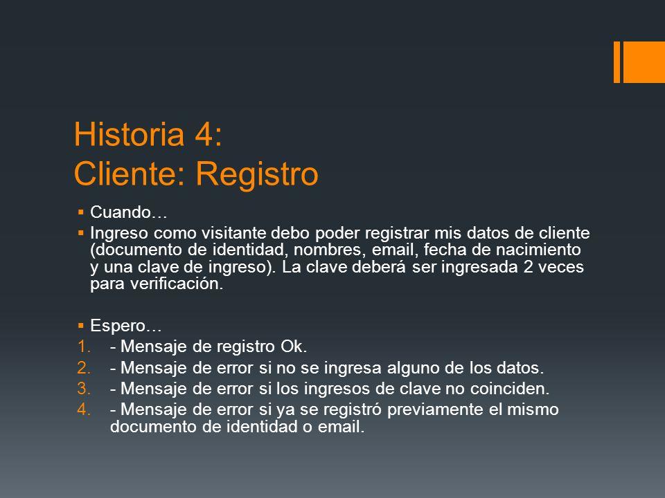 Historia 4: Cliente: Registro Cuando… Ingreso como visitante debo poder registrar mis datos de cliente (documento de identidad, nombres, email, fecha de nacimiento y una clave de ingreso).