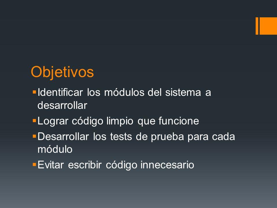 Objetivos Identificar los módulos del sistema a desarrollar Lograr código limpio que funcione Desarrollar los tests de prueba para cada módulo Evitar escribir código innecesario