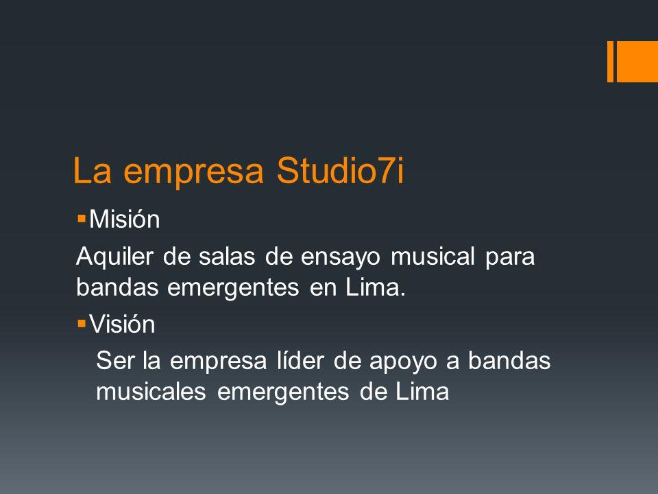 La empresa Studio7i Misión Aquiler de salas de ensayo musical para bandas emergentes en Lima.