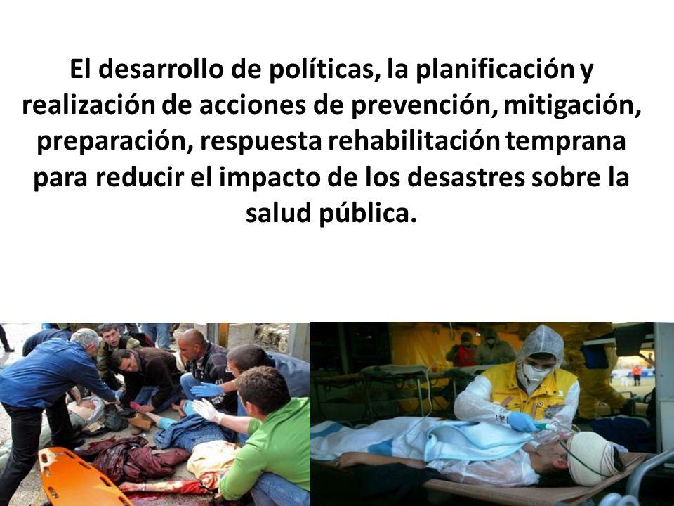 El desarrollo de políticas, la planificación y realización de acciones de prevención, mitigación, preparación, respuesta rehabilitación temprana para