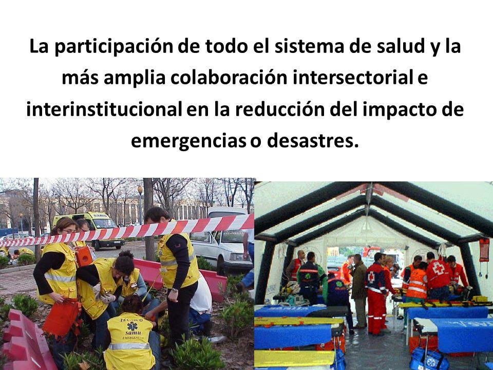 La participación de todo el sistema de salud y la más amplia colaboración intersectorial e interinstitucional en la reducción del impacto de emergenci
