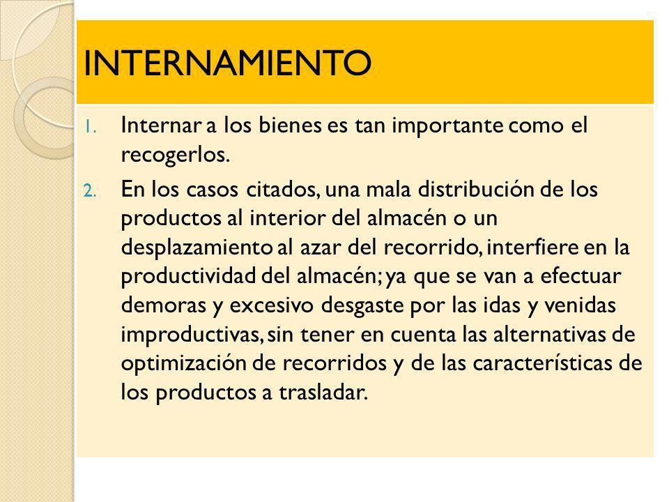 INTERNAMIENTO 1. Internar a los bienes es tan importante como el recogerlos. 2. En los casos citados, una mala distribución de los productos al interi