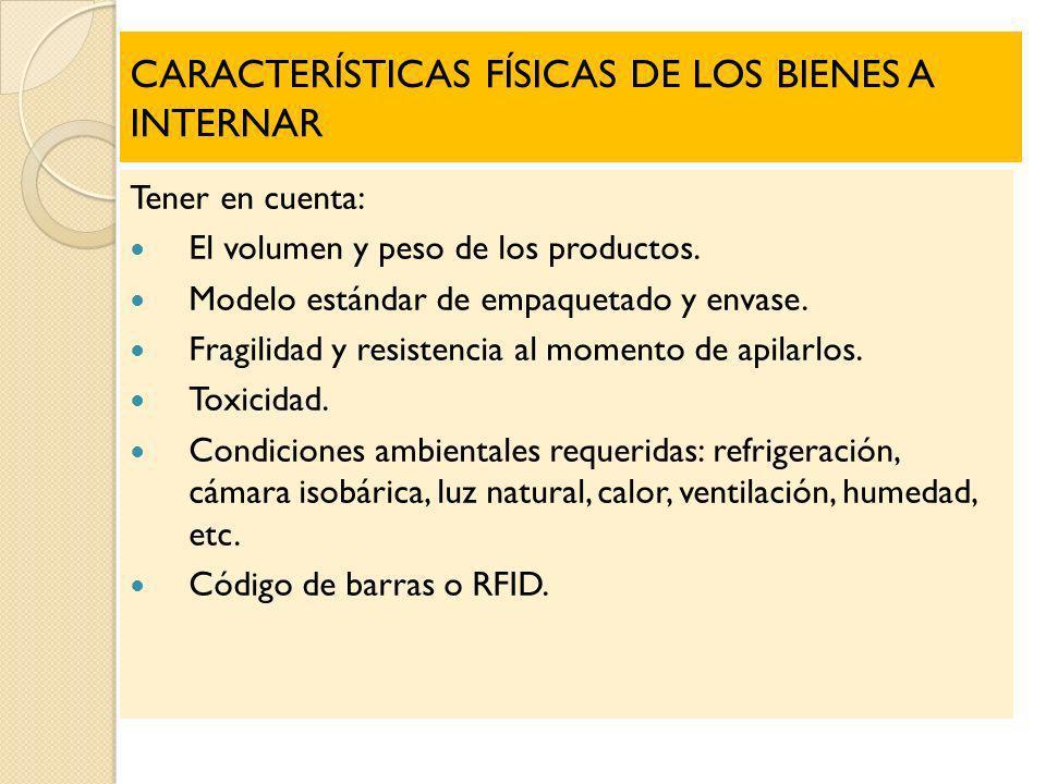 CARACTERÍSTICAS FÍSICAS DE LOS BIENES A INTERNAR Tener en cuenta: El volumen y peso de los productos. Modelo estándar de empaquetado y envase. Fragili