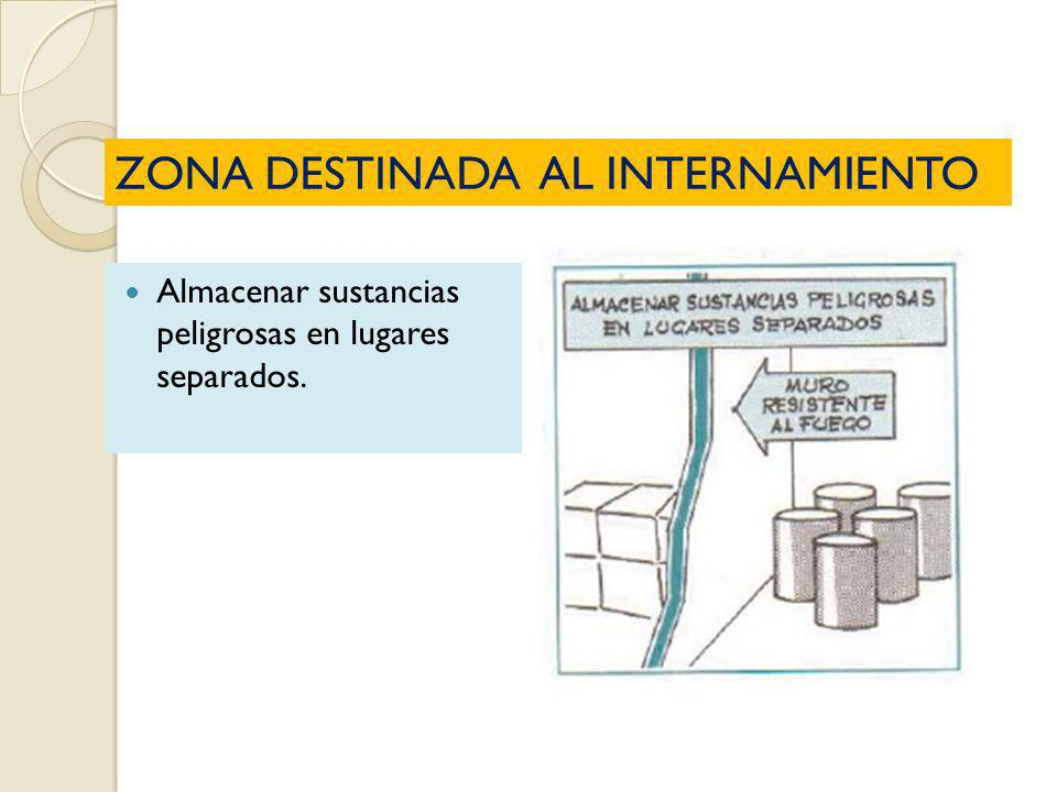 ZONA DESTINADA AL INTERNAMIENTO Almacenar sustancias peligrosas en lugares separados.
