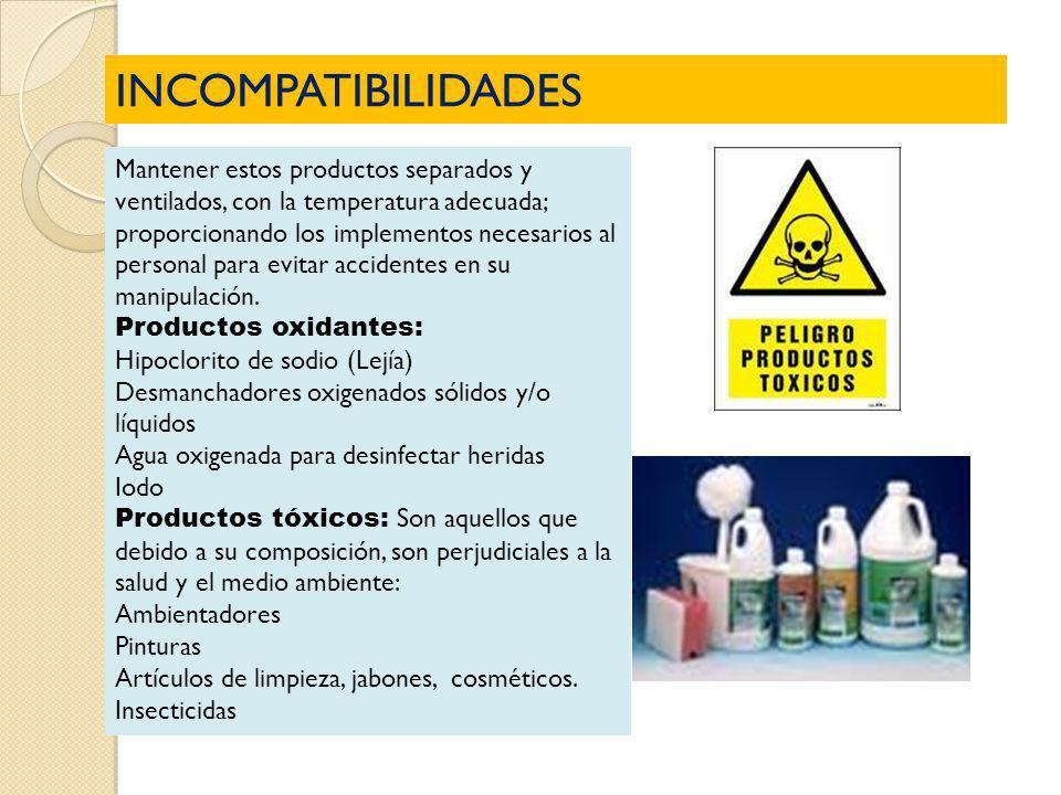 INCOMPATIBILIDADES Mantener estos productos separados y ventilados, con la temperatura adecuada; proporcionando los implementos necesarios al personal