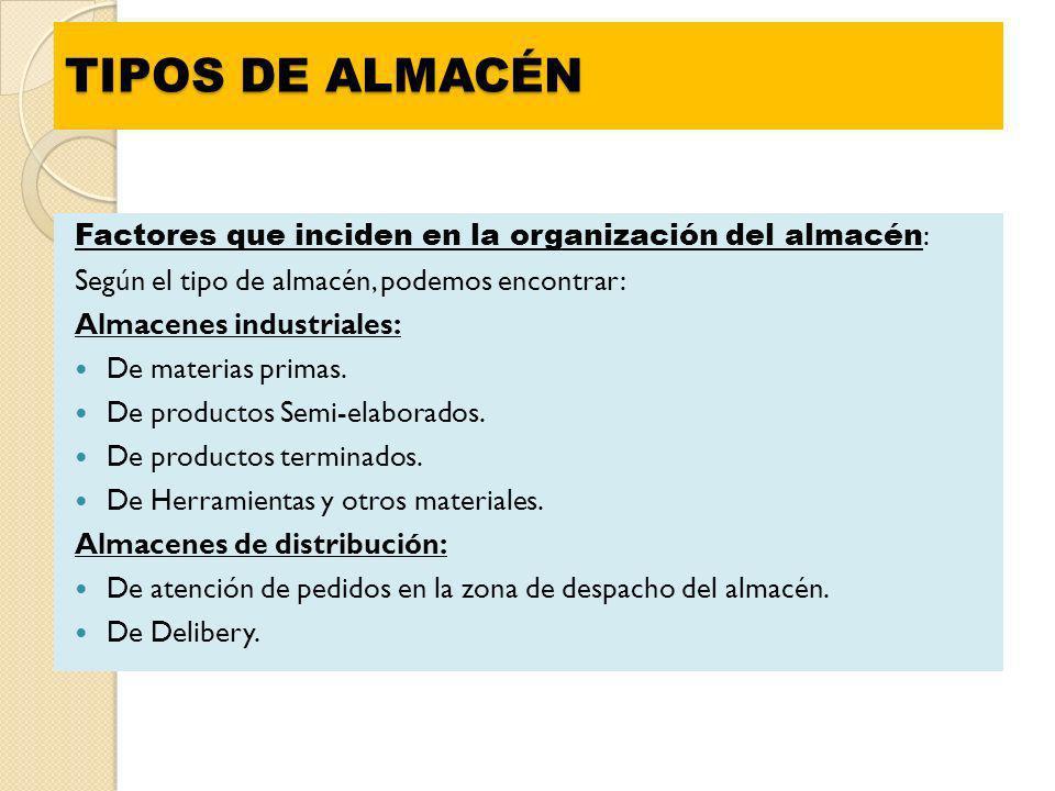 TIPOS DE ALMACÉN Factores que inciden en la organización del almacén : Según el tipo de almacén, podemos encontrar: Almacenes industriales: De materia