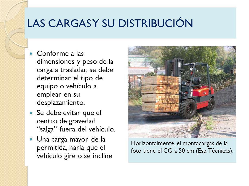 LAS CARGAS Y SU DISTRIBUCIÓN Conforme a las dimensiones y peso de la carga a trasladar, se debe determinar el tipo de equipo o vehículo a emplear en s