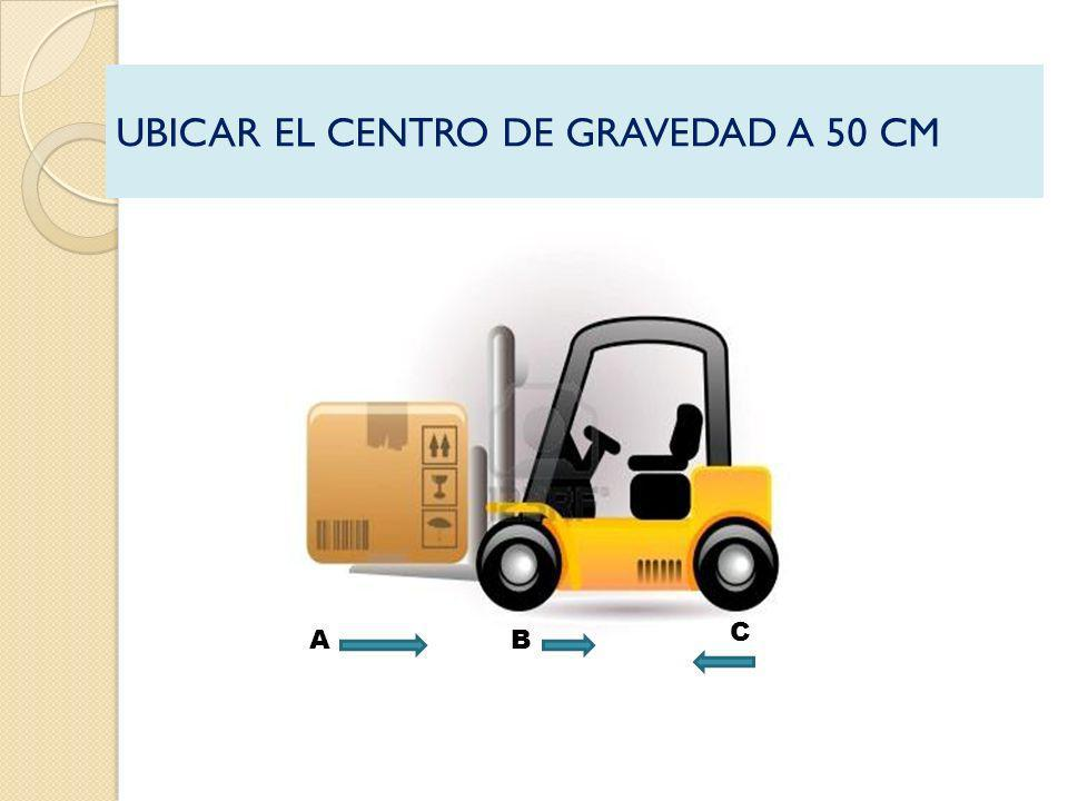 UBICAR EL CENTRO DE GRAVEDAD A 50 CM AB C