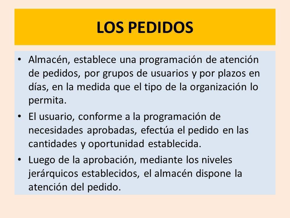 LOS PEDIDOS Almacén, establece una programación de atención de pedidos, por grupos de usuarios y por plazos en días, en la medida que el tipo de la or