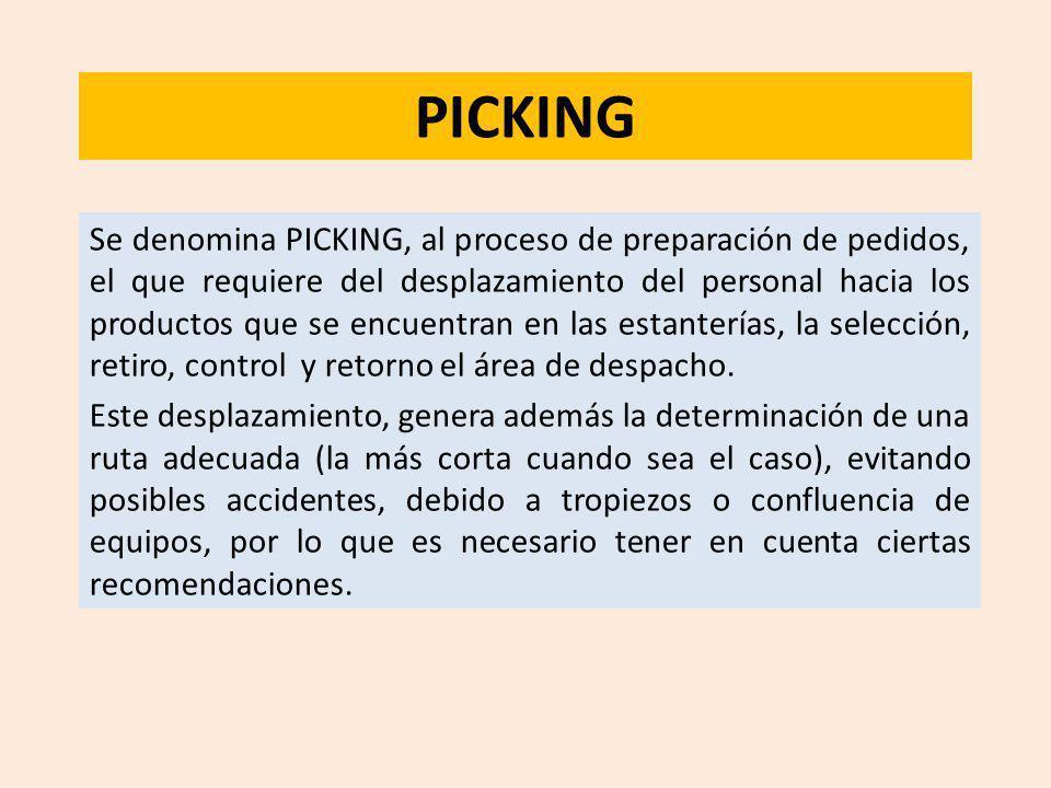 PICKING Se denomina PICKING, al proceso de preparación de pedidos, el que requiere del desplazamiento del personal hacia los productos que se encuentr