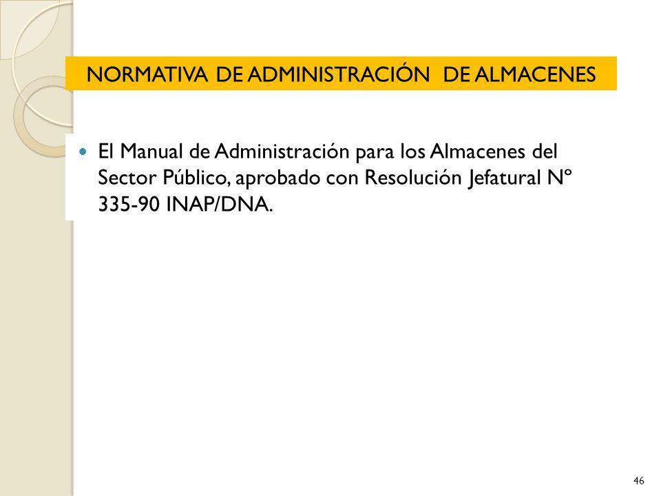 NORMATIVA DE ADMINISTRACIÓN DE ALMACENES El Manual de Administración para los Almacenes del Sector Público, aprobado con Resolución Jefatural Nº 335-9