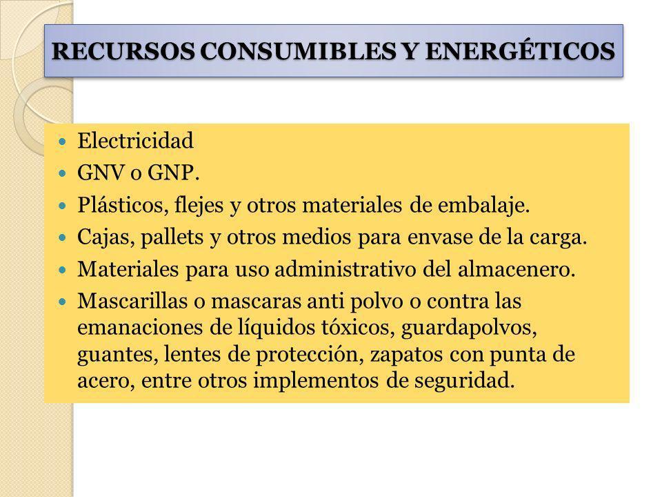 RECURSOS CONSUMIBLES Y ENERGÉTICOS Electricidad GNV o GNP. Plásticos, flejes y otros materiales de embalaje. Cajas, pallets y otros medios para envase