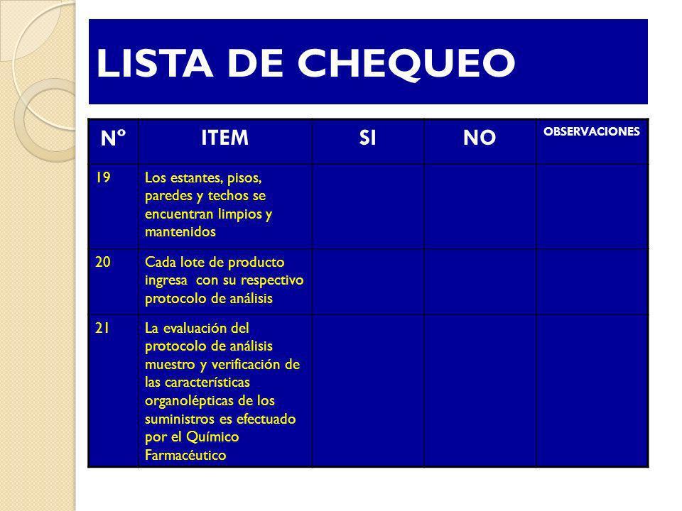 LISTA DE CHEQUEO NºNº ITEMSINO OBSERVACIONES 19Los estantes, pisos, paredes y techos se encuentran limpios y mantenidos 20Cada lote de producto ingres