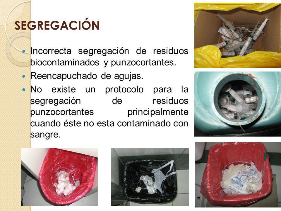 SEGREGACIÓN Incorrecta segregación de residuos biocontaminados y punzocortantes. Reencapuchado de agujas. No existe un protocolo para la segregación d