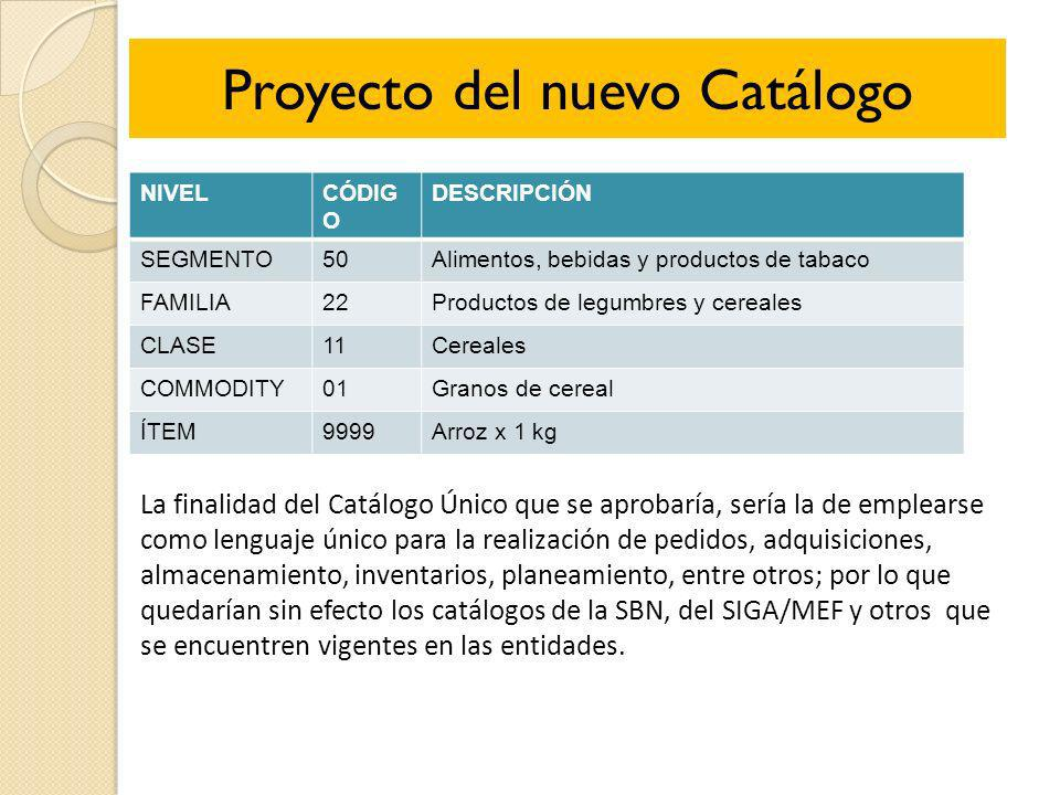 Proyecto del nuevo Catálogo NIVELCÓDIG O DESCRIPCIÓN SEGMENTO50Alimentos, bebidas y productos de tabaco FAMILIA22Productos de legumbres y cereales CLA