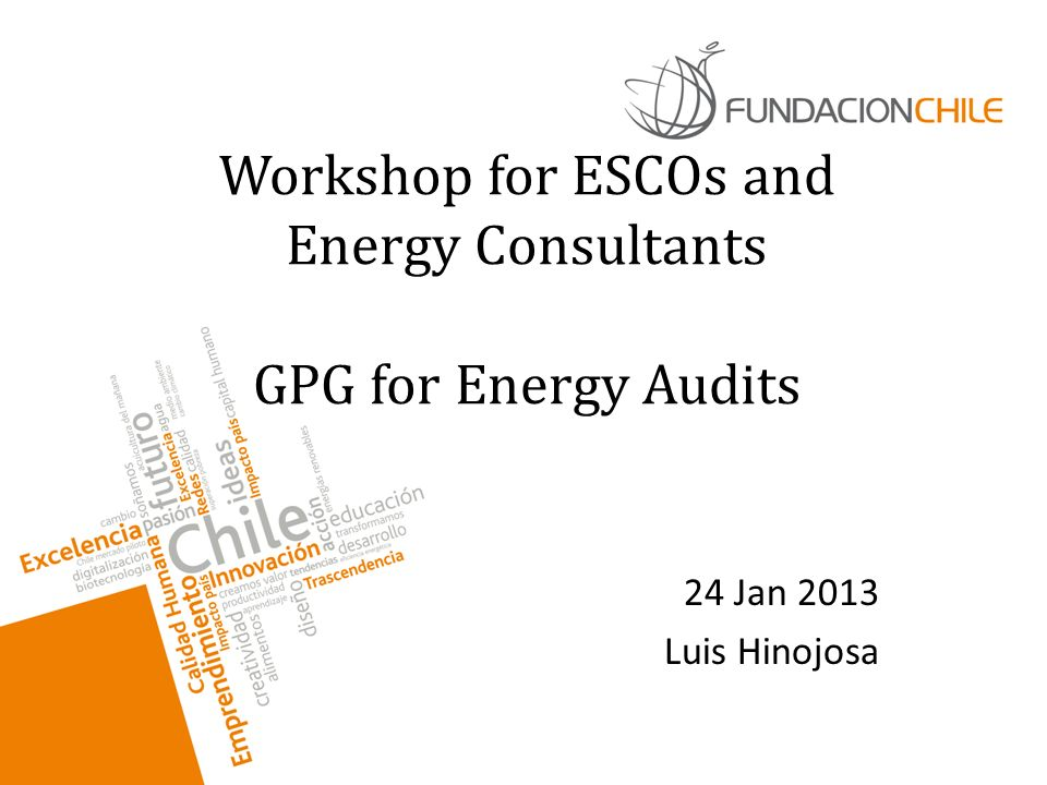 Workshop for ESCOs and Energy Consultants GPG for Energy Audits 24 Jan 2013 Luis Hinojosa