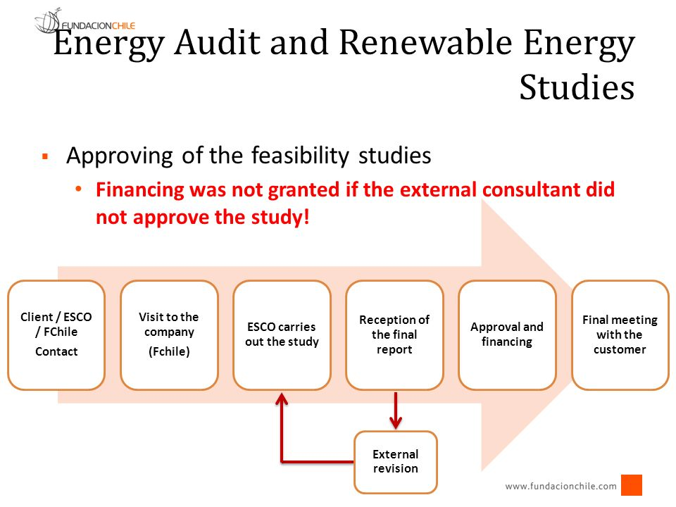 Energy Audit and Renewable Energy Studies Approving of the feasibility studies Financing was not granted if the external consultant did not approve th