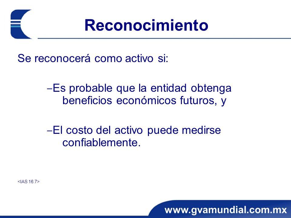 Reconocimiento Se reconocerá como activo si: Es probable que la entidad obtenga beneficios económicos futuros, y El costo del activo puede medirse con