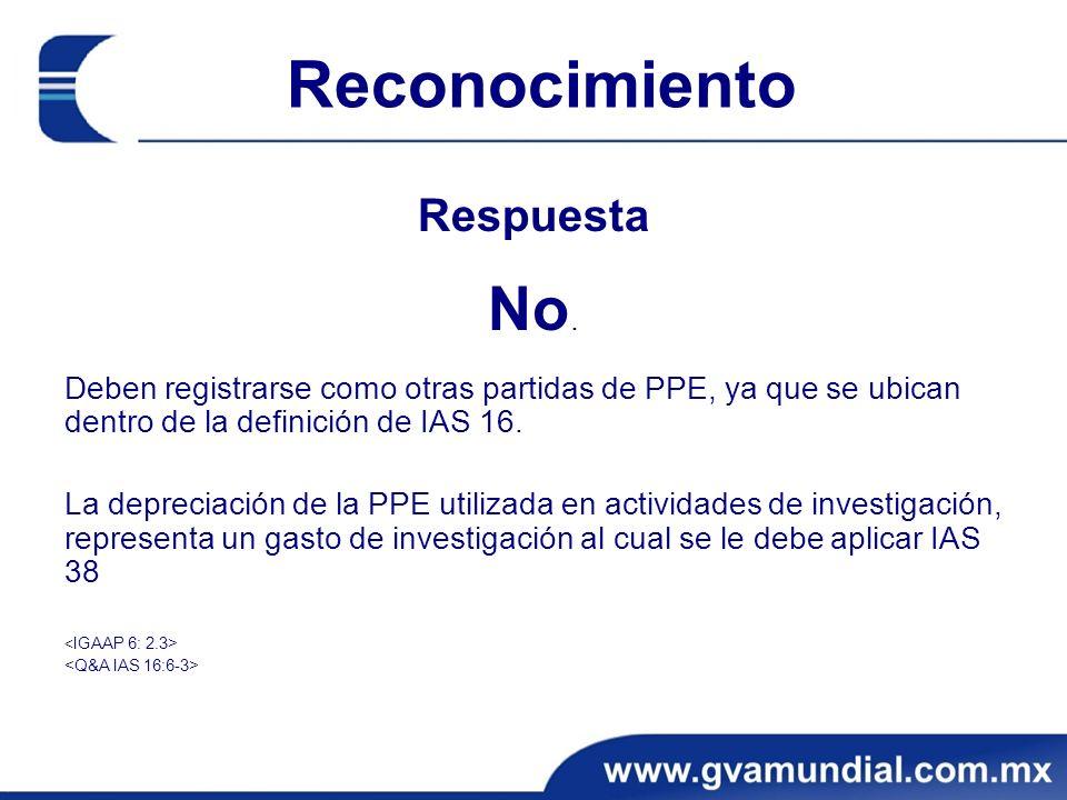 Reconocimiento Respuesta No. Deben registrarse como otras partidas de PPE, ya que se ubican dentro de la definición de IAS 16. La depreciación de la P