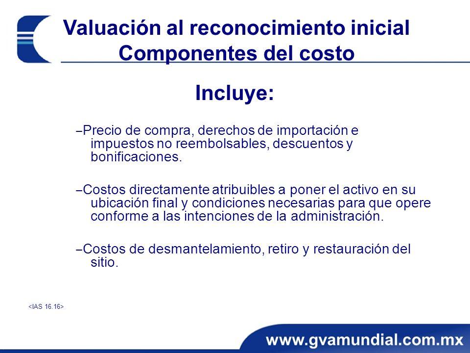 Valuación al reconocimiento inicial Componentes del costo Incluye: Precio de compra, derechos de importación e impuestos no reembolsables, descuentos