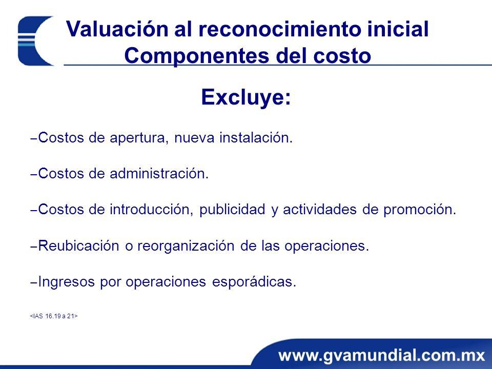 Valuación al reconocimiento inicial Componentes del costo Excluye: Costos de apertura, nueva instalación. Costos de administración. Costos de introduc