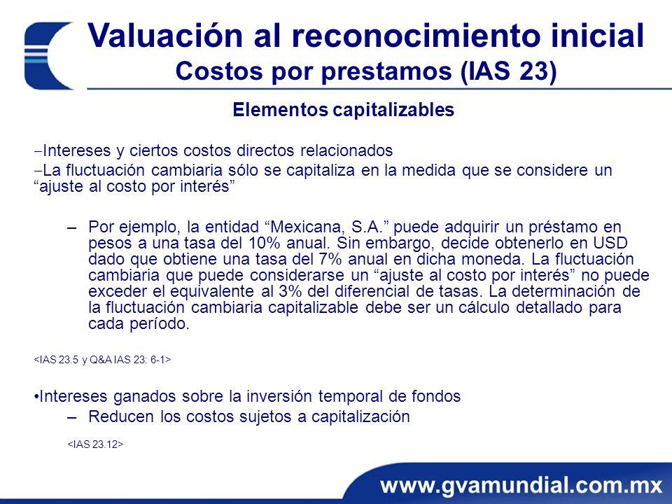 Elementos capitalizables Intereses y ciertos costos directos relacionados La fluctuación cambiaria sólo se capitaliza en la medida que se considere un
