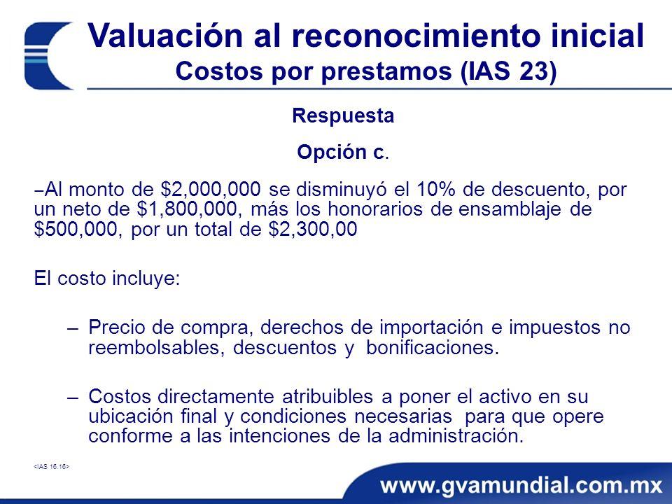 Respuesta Opción c. Al monto de $2,000,000 se disminuyó el 10% de descuento, por un neto de $1,800,000, más los honorarios de ensamblaje de $500,000,