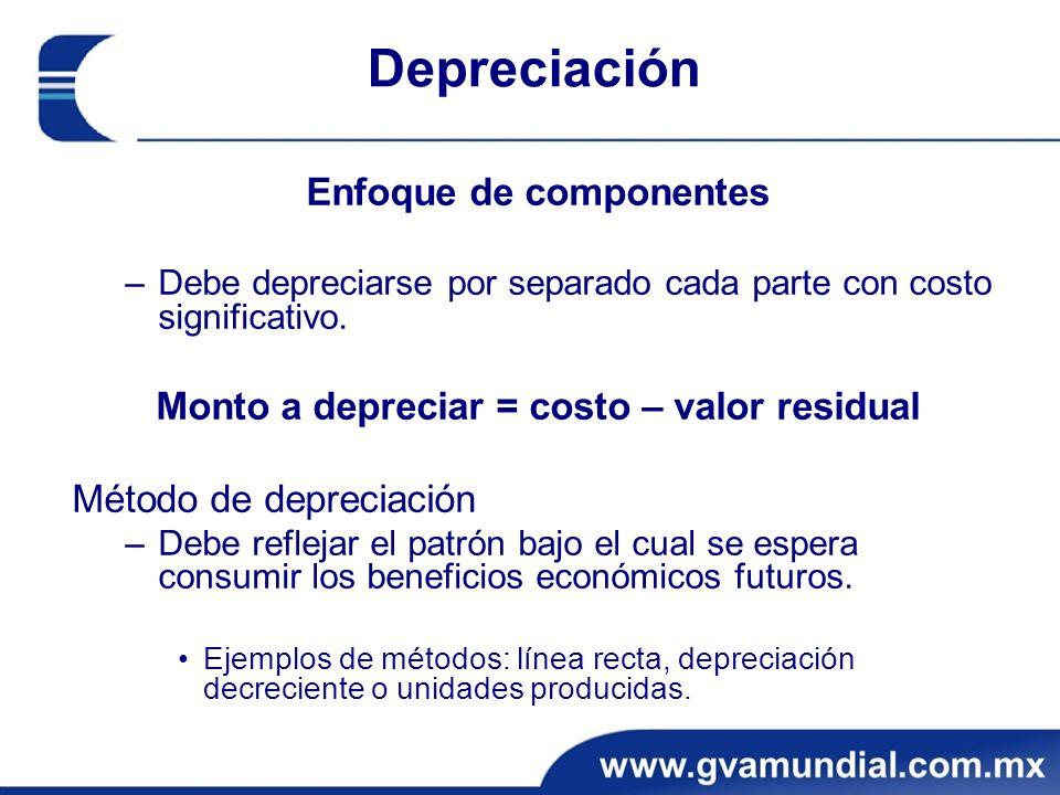 Depreciación Enfoque de componentes –Debe depreciarse por separado cada parte con costo significativo. Monto a depreciar = costo – valor residual Méto