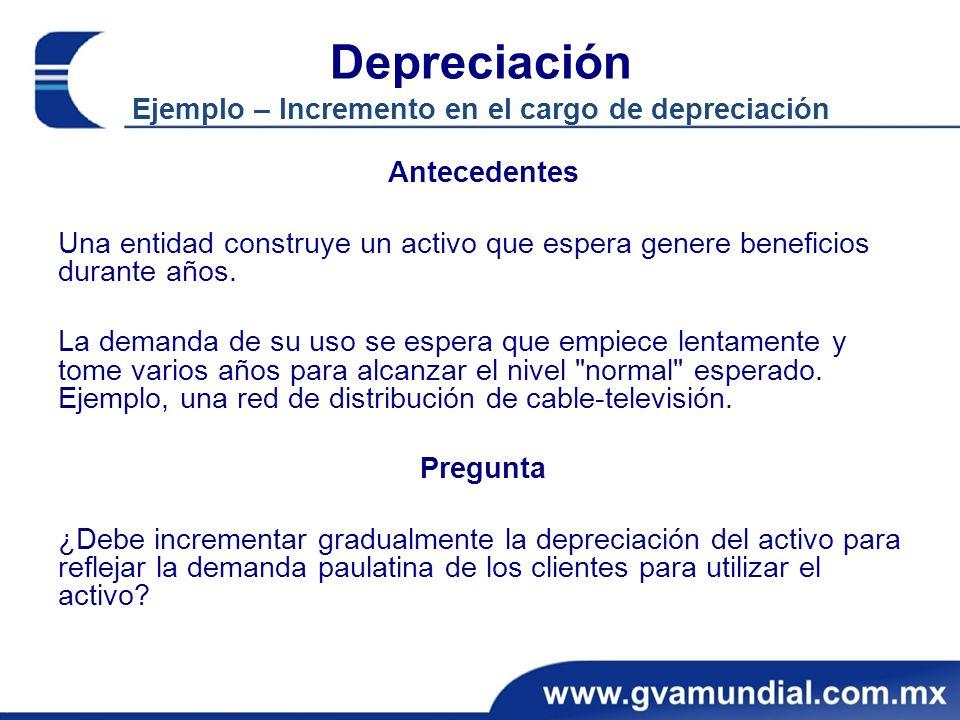 Depreciación Ejemplo – Incremento en el cargo de depreciación Antecedentes Una entidad construye un activo que espera genere beneficios durante años.