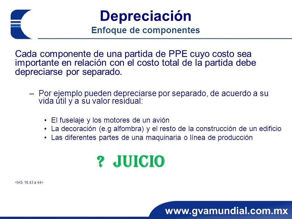 Depreciación Enfoque de componentes Cada componente de una partida de PPE cuyo costo sea importante en relación con el costo total de la partida debe