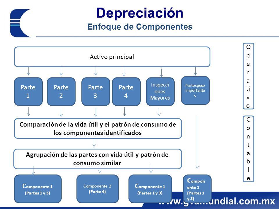 Depreciación Enfoque de Componentes Activo principal Parte 1 Parte 2 Inspecci ones Mayores Partespoco importante s Comparación de la vida útil y el pa