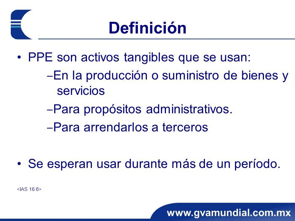 Definición PPE son activos tangibles que se usan: En la producción o suministro de bienes y servicios Para propósitos administrativos. Para arrendarlo