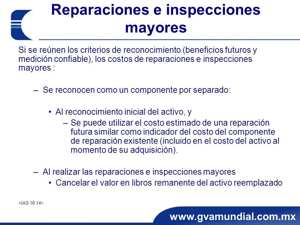 Si se reúnen los criterios de reconocimiento (beneficios futuros y medición confiable), los costos de reparaciones e inspecciones mayores : –Se recono