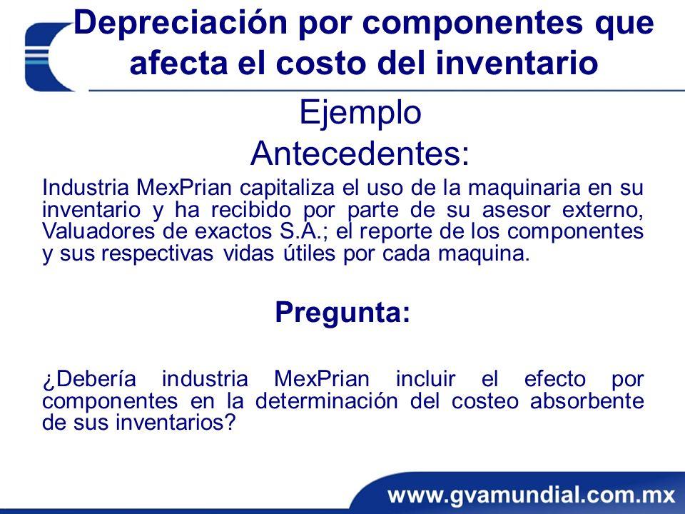 Ejemplo Antecedentes: Industria MexPrian capitaliza el uso de la maquinaria en su inventario y ha recibido por parte de su asesor externo, Valuadores