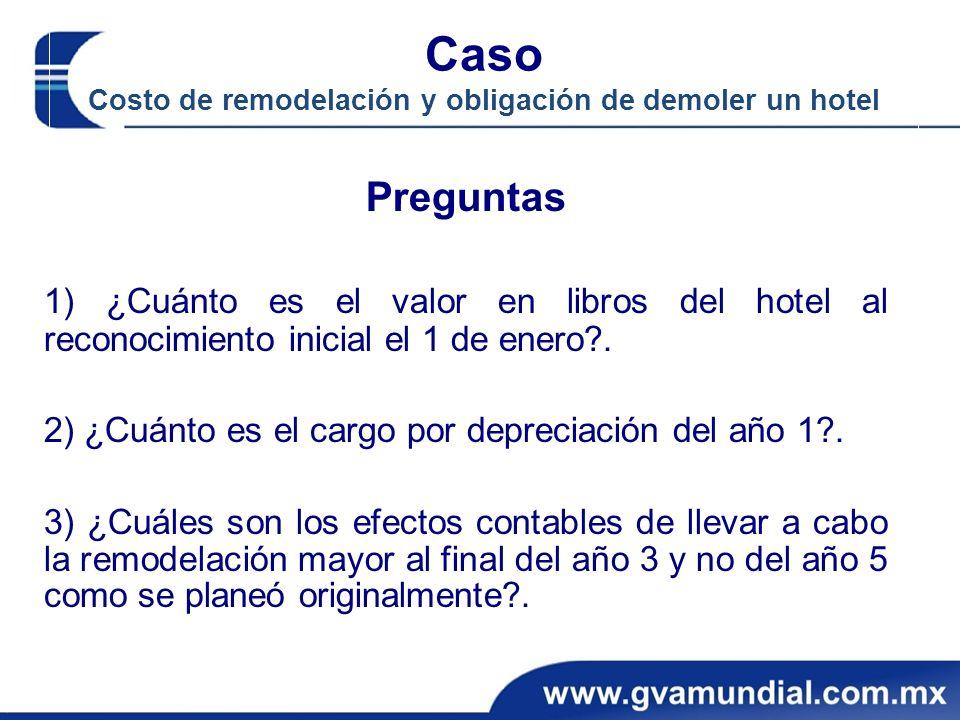 Caso Costo de remodelación y obligación de demoler un hotel Preguntas 1) ¿Cuánto es el valor en libros del hotel al reconocimiento inicial el 1 de ene