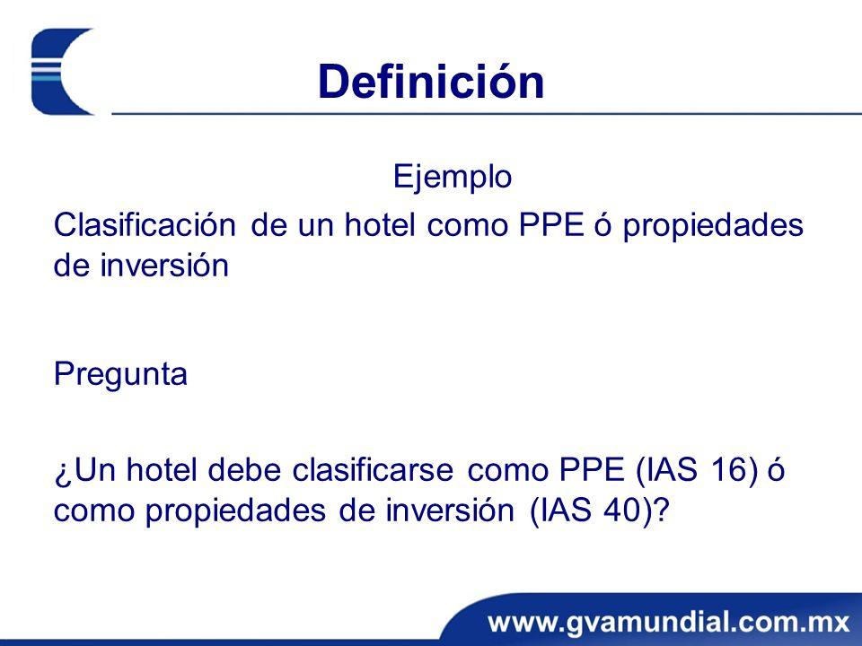 Definición Ejemplo Clasificación de un hotel como PPE ó propiedades de inversión Pregunta ¿Un hotel debe clasificarse como PPE (IAS 16) ó como propied