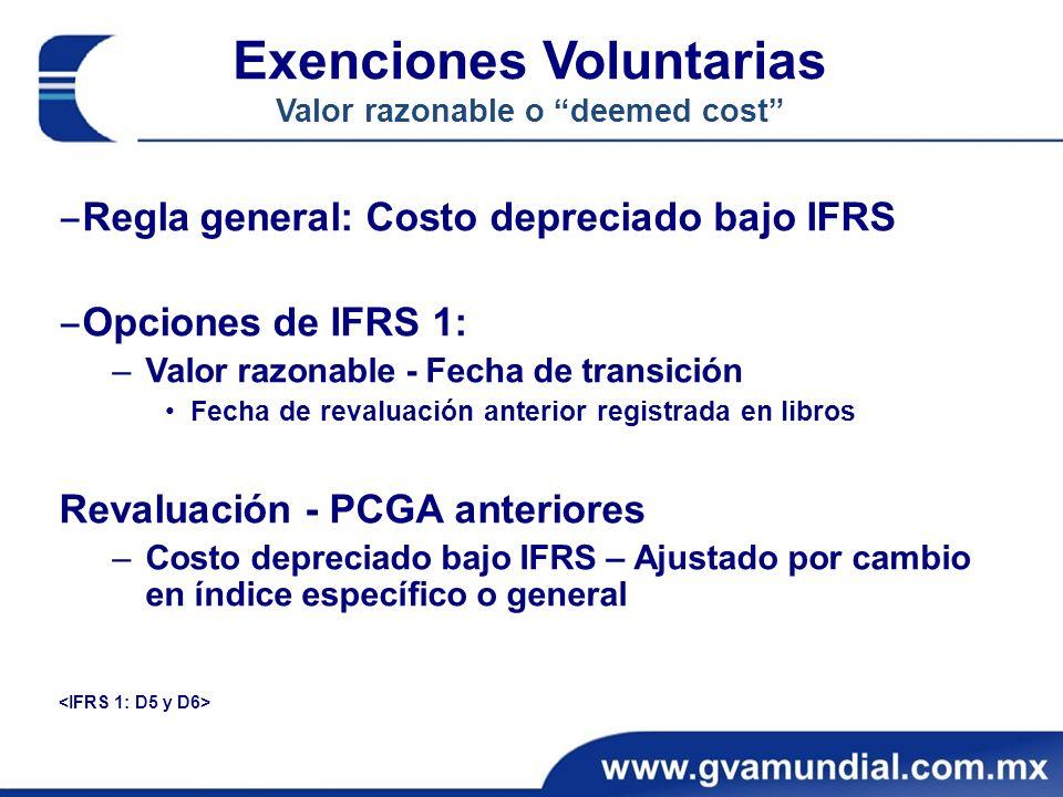 Regla general: Costo depreciado bajo IFRS Opciones de IFRS 1: –Valor razonable - Fecha de transición Fecha de revaluación anterior registrada en libro