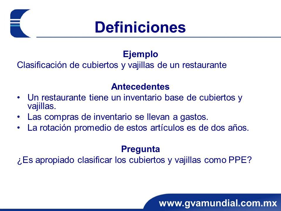 Definiciones Ejemplo Clasificación de cubiertos y vajillas de un restaurante Antecedentes Un restaurante tiene un inventario base de cubiertos y vajil