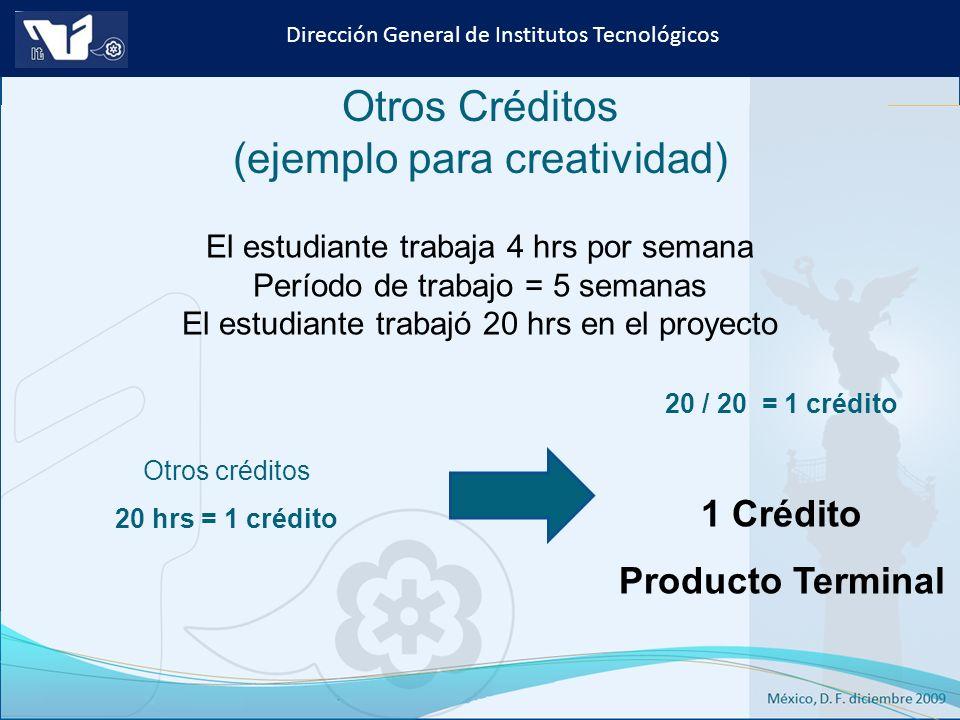 Instituto Tecnológico de Culiacán. Julio 2013 Dirección General de Institutos Tecnológicos Otros Créditos (ejemplo para creatividad) El estudiante tra
