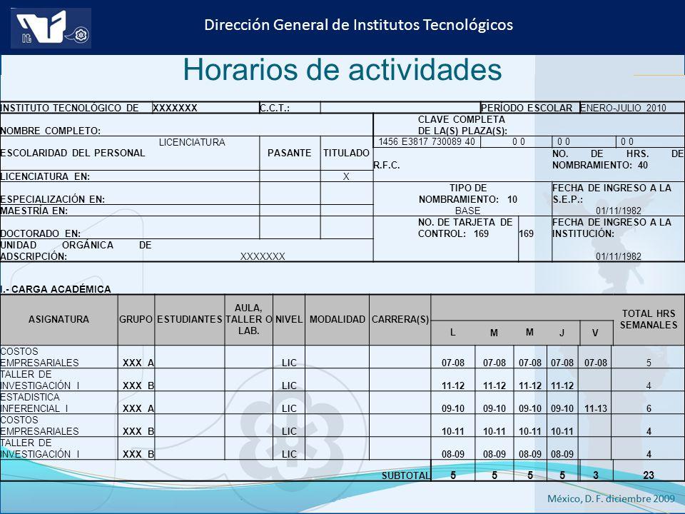 Instituto Tecnológico de Culiacán. Julio 2013 Dirección General de Institutos Tecnológicos INSTITUTO TECNOLÓGICO DEXXXXXXXC.C.T.: PERÍODO ESCOLARENERO