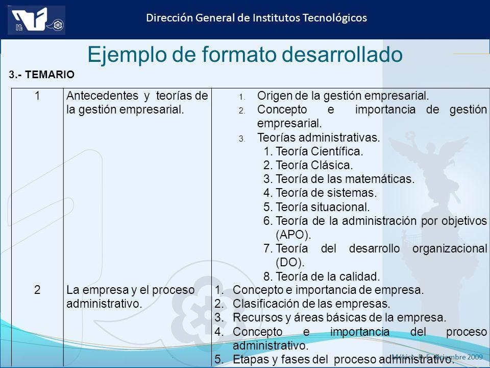 Instituto Tecnológico de Culiacán. Julio 2013 Dirección General de Institutos Tecnológicos Ejemplo de formato desarrollado 3.- TEMARIO 1Antecedentes y