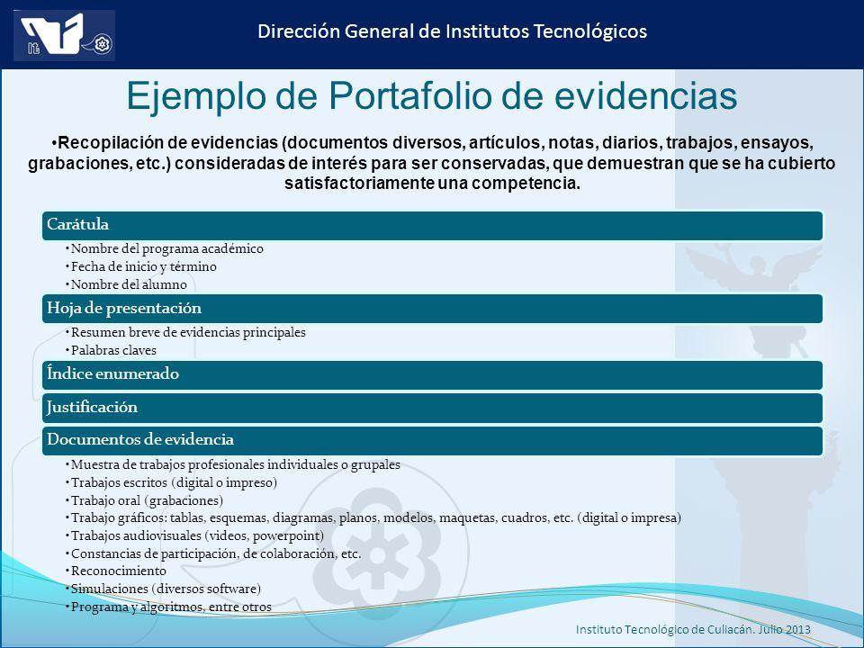 Instituto Tecnológico de Culiacán. Julio 2013 Dirección General de Institutos Tecnológicos Recopilación de evidencias (documentos diversos, artículos,