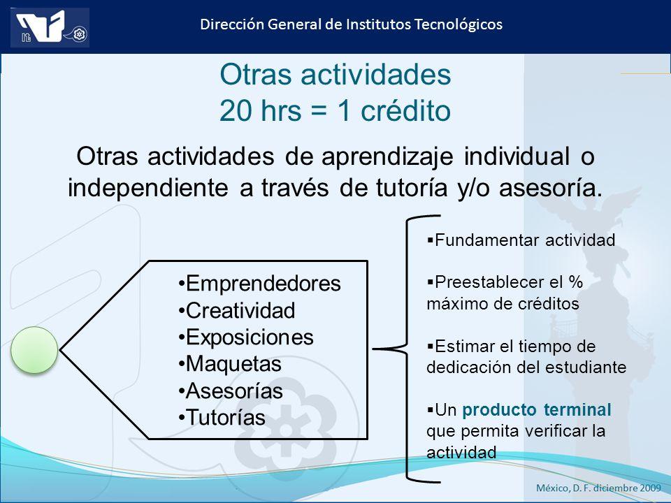 Instituto Tecnológico de Culiacán. Julio 2013 Dirección General de Institutos Tecnológicos Otras actividades 20 hrs = 1 crédito Emprendedores Creativi