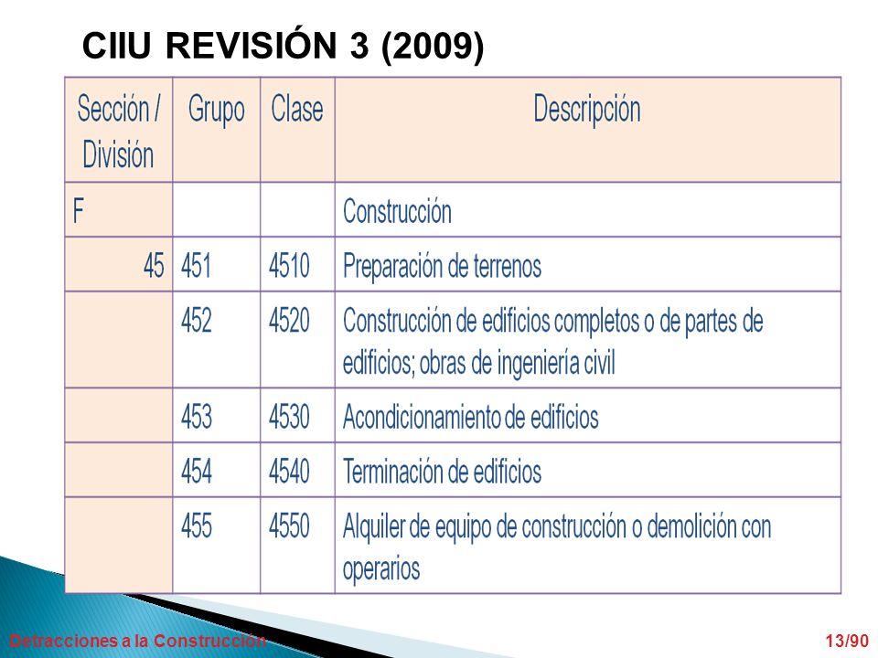Detracciones a la Construcción13/90 CIIU REVISIÓN 3 (2009)