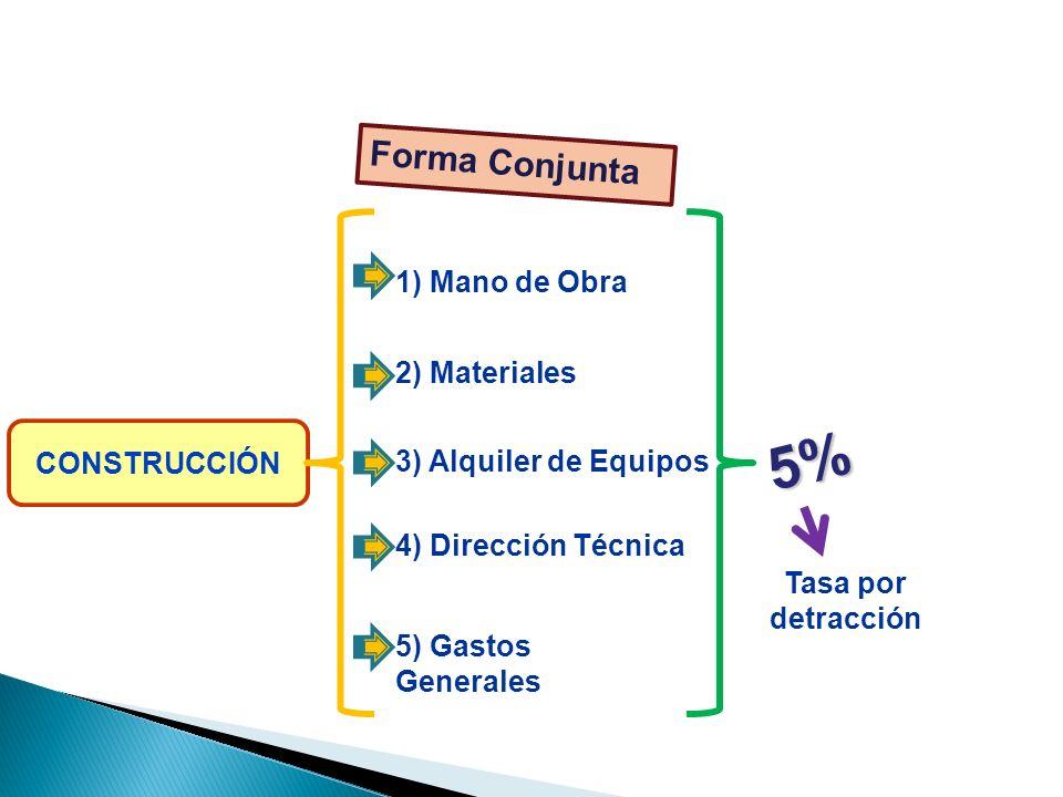 CONSTRUCCIÓN 1) Mano de Obra 2) Materiales 3) Alquiler de Equipos 4) Dirección Técnica 5) Gastos Generales Tasa por detracción Forma Conjunta 5% ELEMENTOS