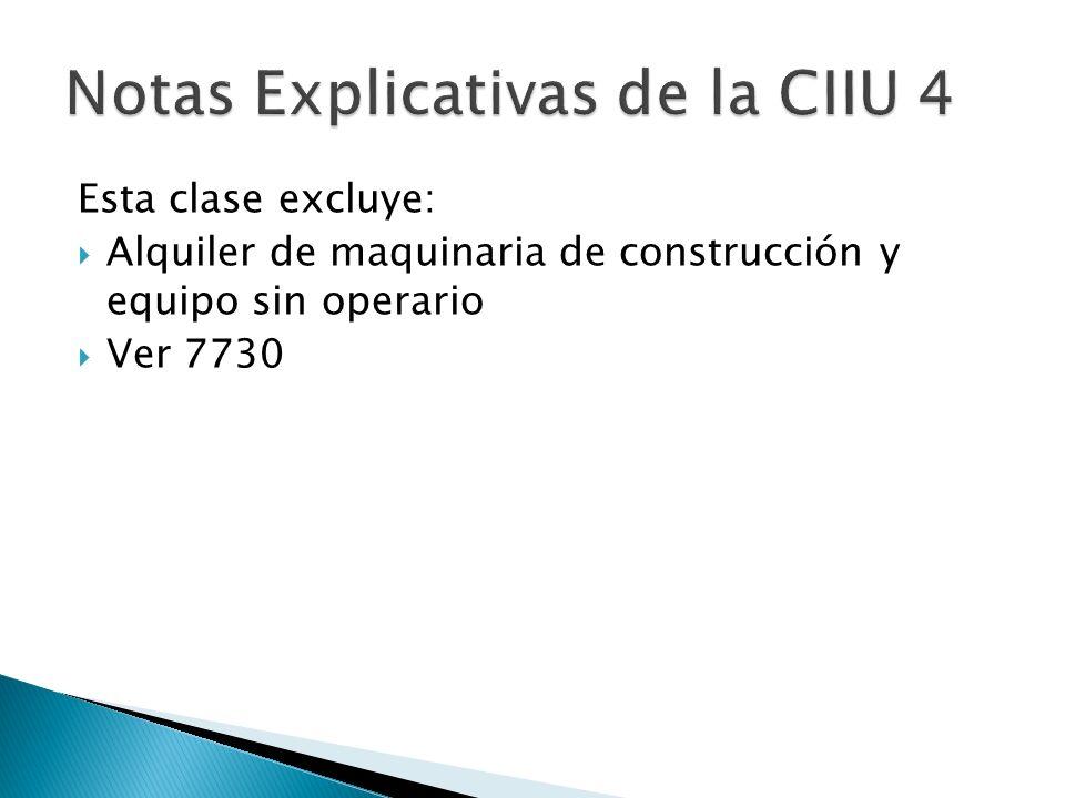 Esta clase excluye: Alquiler de maquinaria de construcción y equipo sin operario Ver 7730