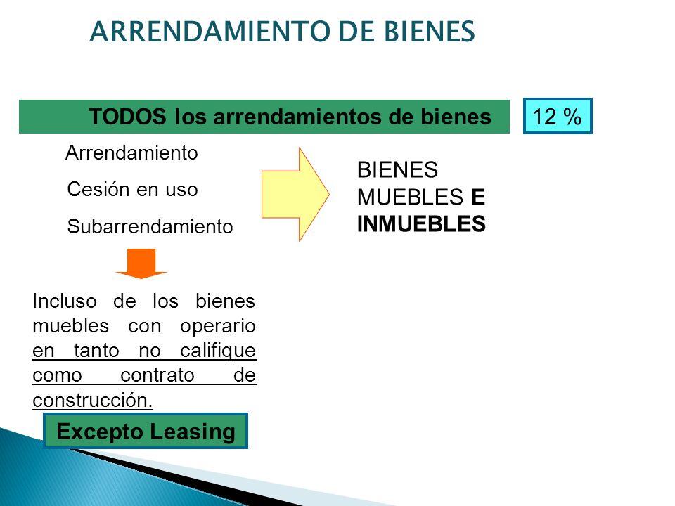 TODOS los arrendamientos de bienes ARRENDAMIENTO DE BIENES Arrendamiento Cesión en uso Subarrendamiento Incluso de los bienes muebles con operario en tanto no califique como contrato de construcción.