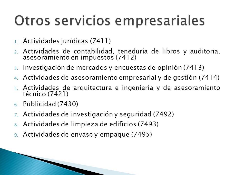 1.Actividades jurídicas (7411) 2.